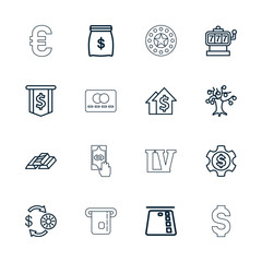 Collection of 16 money outline icons