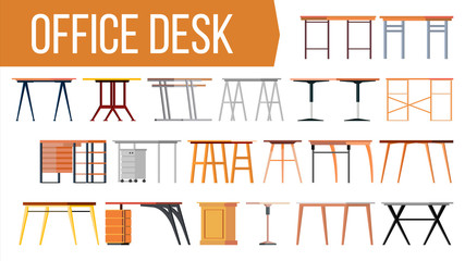 Office Desk Set Vector. Office Creative Modern Desk. Home Table. Interior Table Workplace Design Element. Work Space. Isolated Furniture Illustration