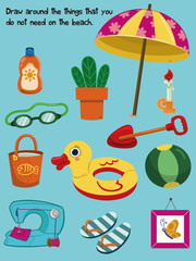 Educational quiz for kids with everyday and beach objects. Vector illustration.