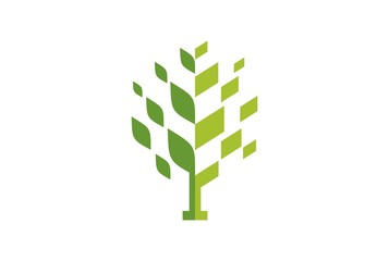 abstract tree green concept logo design vector