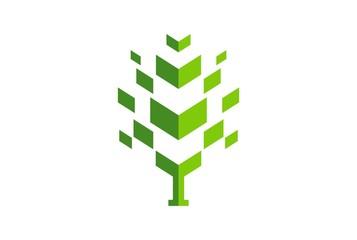 abstract tree green concept logo icon vector