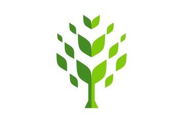 abstract tree green concept logo icon