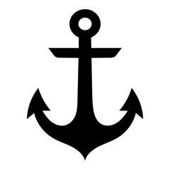 Simple, flat, black anchor silhouette icon. Isolated on white