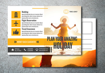 Postcard Layout with Orange Accents