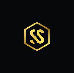 Initial letter S SS minimalist art monogram shape logo, gold color on black background