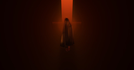 Evil Spirit of a Child floating in a fiery inferno 3d illustration