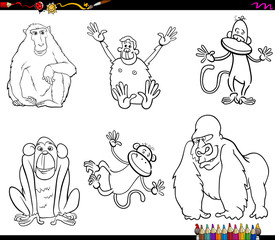 set of monkeys animal characters color book