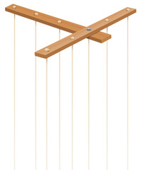 Wooden marionette control bar with strings without puppet. Symbol for manipulation, control, authority, domination - or just as a toy for a puppeteer. Isolated vector on white.