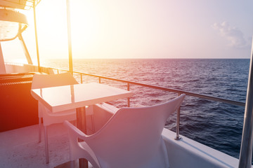 Vacations on luxury yacht in tropical sea