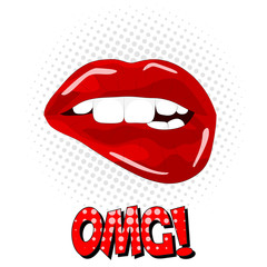 OMG Lettering! Sweet sexy pop art Pair of Glossy Vector Lips. Open Sexy wet red lips with teeth pop art set backgrounds, vector illustration, pattern