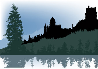castle in forest with reflection