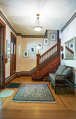 Victorian House Foyer with Open Stairway