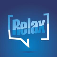 Relax in brackets blue white speech banner icon