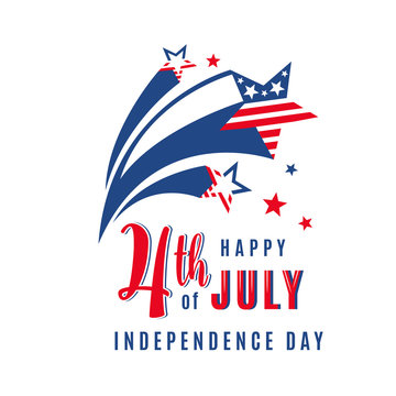 4th of July celebration holiday banner with shooting stars. USA Independence Day poster for greeting, sale concept design. Isolated on white