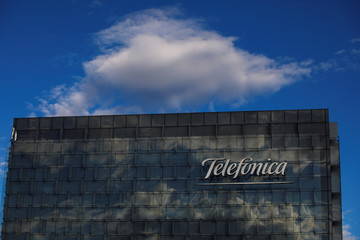 A general view shows the Telefonica headquarters in Madrid