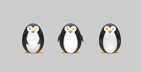 Vector drawing of a silly, crazy penguin with 3 different poses, vector illustration animal concept