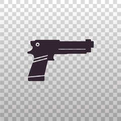 Gaming light gun controller - black silhouette icon on isolated transparent background. Toy handgun or pistol sign, symbol, pictogram. Weapon vector illustration.