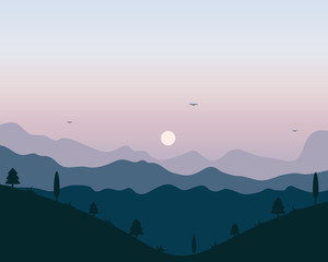 Vector landscape with mountains and trees.