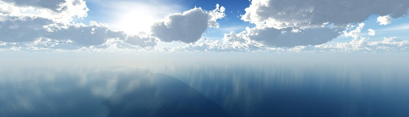 beautiful view of the sea sunset, beautiful sky over the ocean, clouds, sun and water, 3D rendering