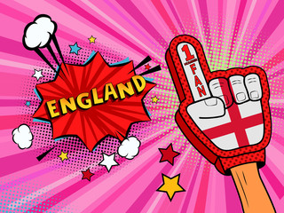 Sports fan male hand in glove raised up celebrating win of England country flag. England speech bubble with stars and clouds. Vector colorful fan illustration