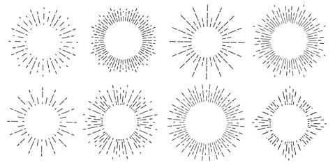 Creative vector illustration of geometric hand drawn sun beams isolated on background. Art design linear sunlight waves, shining lines ray stars. Abstract concept graphic round or circle form element