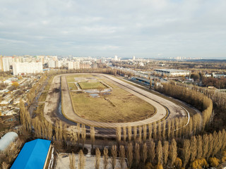 Panoramic aerial view from the drone, a view of the bird's eye to the Central Hippodrome of Ukraine in the city of Kiev.