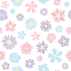 Seamless pastel coloured background with hand drawn flowers. Mother's Day, Woman's Day and Valentine's Day. Vector.