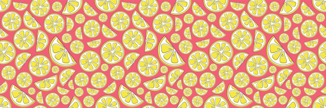 Summer background with cute hand drawn lemons. Vector.