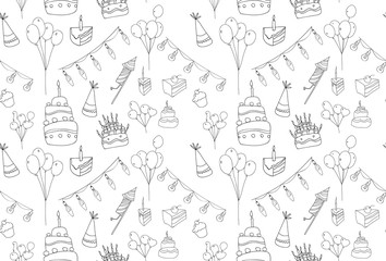 Birthday seamless pattern on white background.