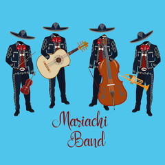Mariachi musicians with musical instruments vector illustration