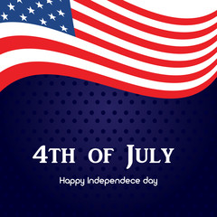 4th of July. Happy Independence Day greeting card. Vector.