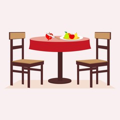 Round table, chairs, fruit, cut apple