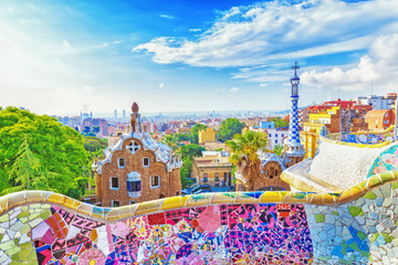 Fotobehang Barcelona Barcelona, Spain, Park Guell. Fanrastic view of famous bench in Park Guell in Barcelona, famous and extremely popular travel destination in Europe.