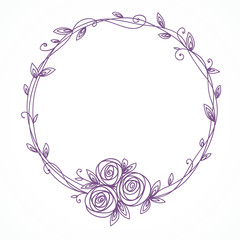 Floral frame. Wreath of rose flowers.