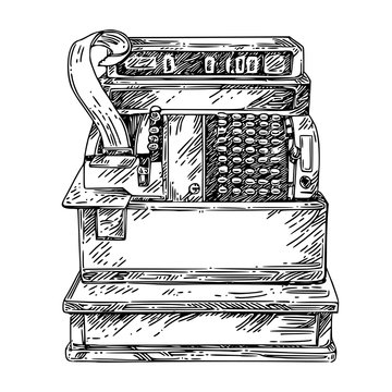 Vintage cash register. Sketch. Engraving style. Vector illustration.