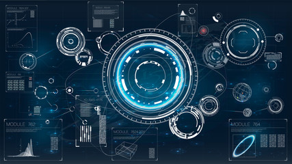 Hud. Icon with hud. Futuristic interface element. Digital radar screen. Hud technology innovation.