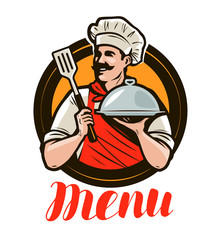 Chef holding a tray, cloche. Design menu for a restaurant or cafe. Label vector illustration