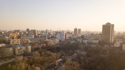 Panoramic aerial view from the drone, a view of the bird's eye view of the the central part of the city of Kiev, Ukraine with churches and the old buildings of the city.