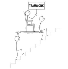 Cartoon stick drawing conceptual illustration of two men, businessmen or slaves carrying boss, manager or lord holding teamwork sign upstairs in litter or sedan chair. Business concept of