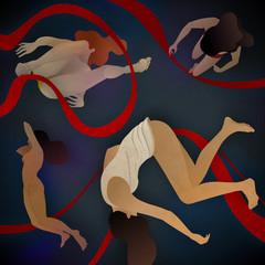 Four women falling