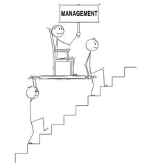 Cartoon stick drawing conceptual illustration of two men, businessmen or slaves carrying boss, manager or lord holding management sign upstairs in litter or sedan chair. Business concept of