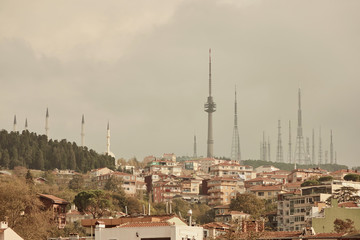 Landscape panoramic view to the historical part of Istanbul, Turkey with the television towers.