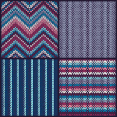 Seamless knitted pattern. Set of color backgrounds
