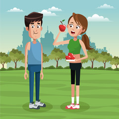 Cute and healthy couple at park vector illustration graphic design