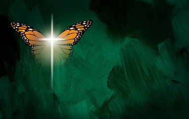 Graphic abstract Christian Cross and Butterfly wings. Conceptual illustration of spiritual re-creation.