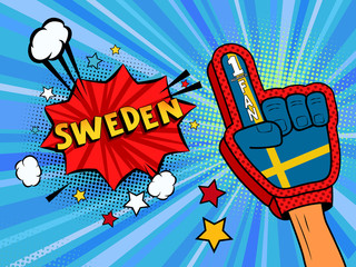 Sports fan male hand in glove raised up celebrating win of Sweden country flag. Sweden speech bubble with stars and clouds. Vector colorful fan illustration