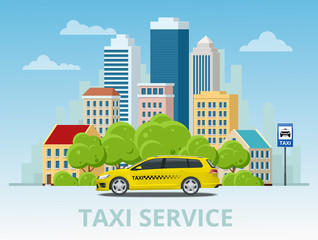 Vector illustration of yellow taxi cab on city with skyscrapers and tower with green trees.