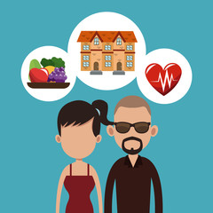 Real estate, food and health cartoons vector illustration graphic design
