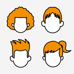 Set of People faceless cartoons vector illustration graphic design