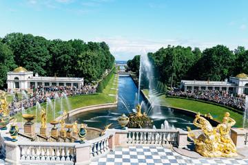 PETERHOF,Saint Petersburg, Russia - June 2017: Grand cascade fountains